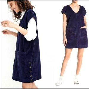 Madewell Blue Corduroy Side Button Shift Dress